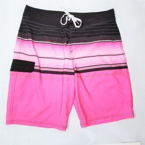 Carbon Pink and Black Board Shorts Swim Trunks 34